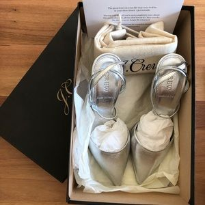 J Crew High Heel Pump Silver Size 5